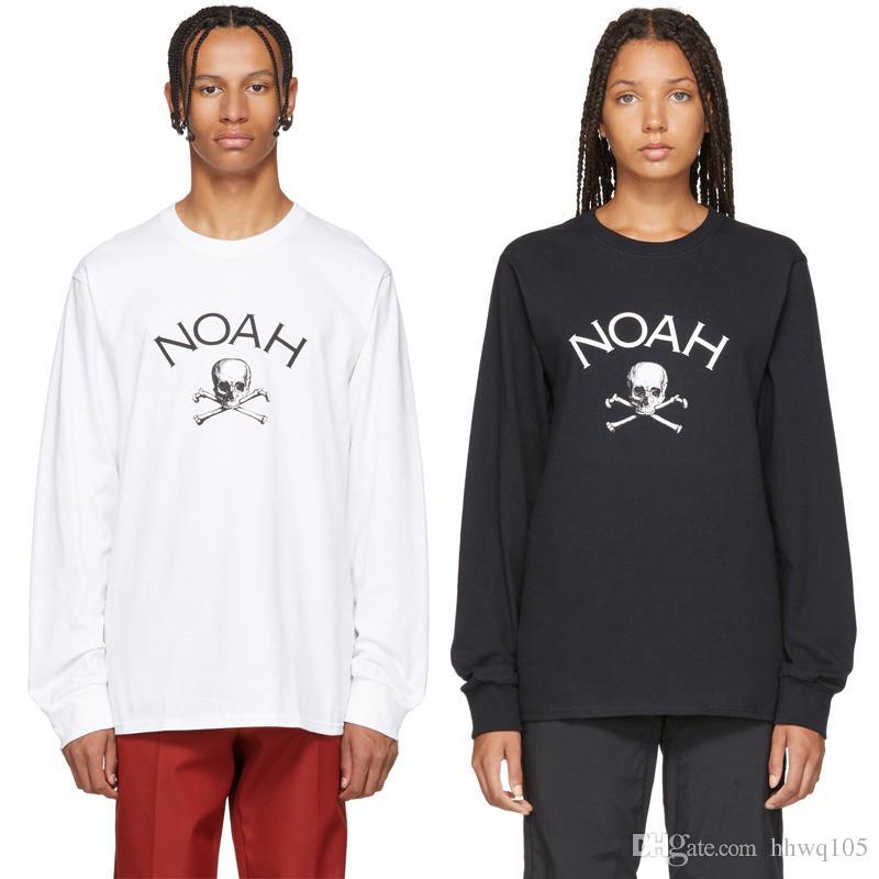 Compre Camiseta De Manga Larga Con Estampado De Cráneo NOAH Hombres Mujeres  Blanco Negro 100% Algodón Camiseta De Hip Hop Streetwear Camisas Unisex  NOAH ... 613f50886ce