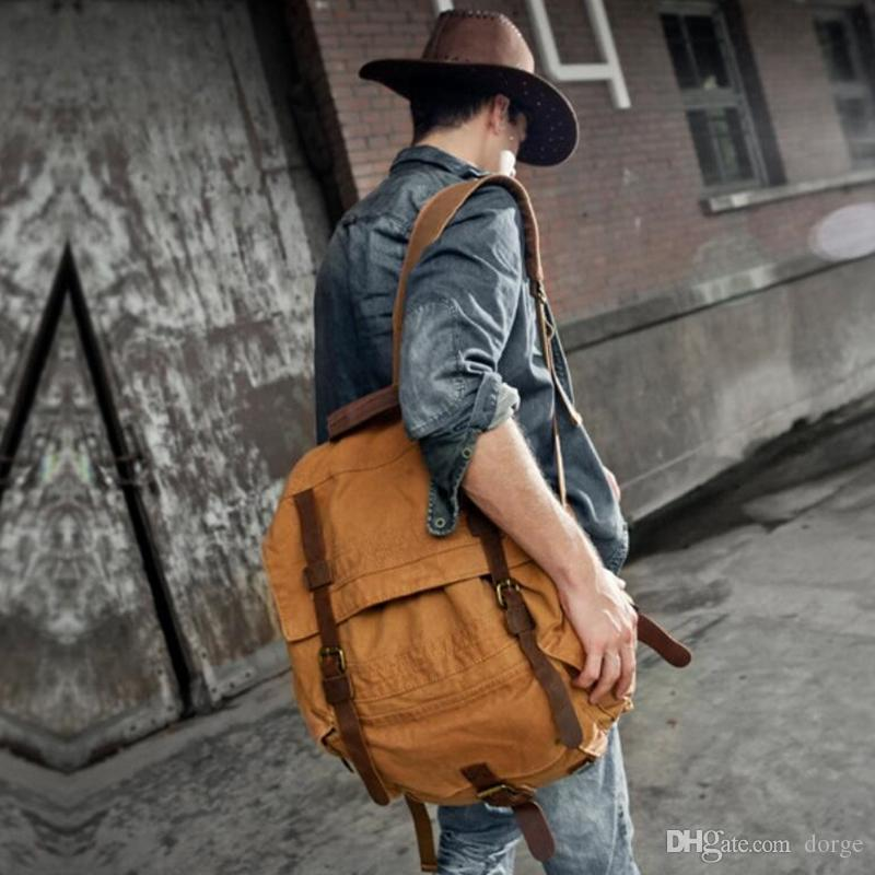 Мужская Vintage рюкзак человек сумка новый стиль двойное плечо повседневная  мода сумка большой емкости компьютер пакет корейский издание Открытый ... 58d916d1e664e