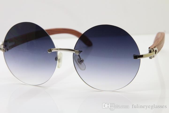 Hot Rimless 3524012 Wood Round Sunglasses Men Women Trimming Lens Carved Wood Trimming Lens Glasses Frame 18K Gold Brown C Decoration gold