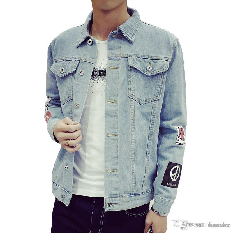 1212a0cb95ddf Satın Al Toptan Yeni Moda Erkek Denim Ceket M 5XL Erkekler Rüzgarlık Mavi  Hip Hop Casual Jeans Kıyafet Kore Slim Fit Erkek Ceket Ve Mont, $41.35 |  DHgate.