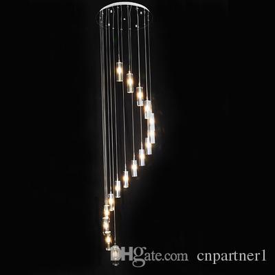 110-240 v Minimalista Moda Transparente K9 Cristal Longo Bloco Em Forma de S Duplex Escadaria Pingente Lustre de Iluminação G4 Lâmpadas de Luz Para o Hotel