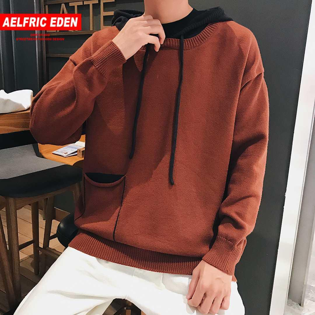 19c8047131 2019 Aelfric Eden 2018 Mens Vintage Big Pocket Patchwork Sweaters Hooded  Fashion Hip Hop Casual Knitted Sweater Male Streetwear AG10 From Ritalei