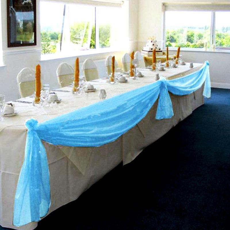 1.4m Organza Table Runners Wedding Decoration Banquet Chair Bow Decoration DIY Wedding Party Decoration Casamento E5M1