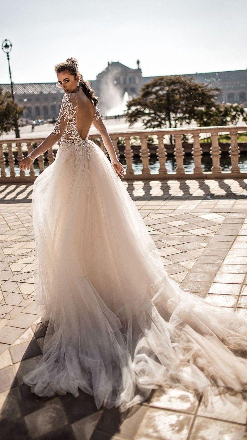 Berta Mermaid Wedding Dresses With Detachable Train Lace Applique Deep V neck Beach Wedding Gowns Sweep Train Long Sleeve Sexy Bridal