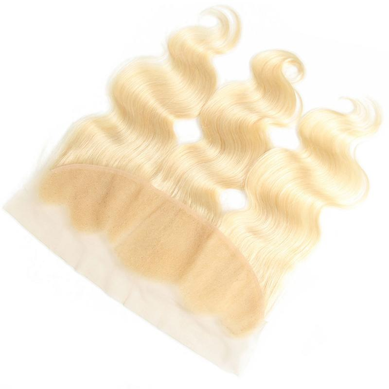 Peruvian Blonde Virgin Hair 13*4 Lace Frontal With 3 Bundles Body Wave Brazilian Malaysian Color 613 Blond Human Remy Hair Weaves 10-24 Inch