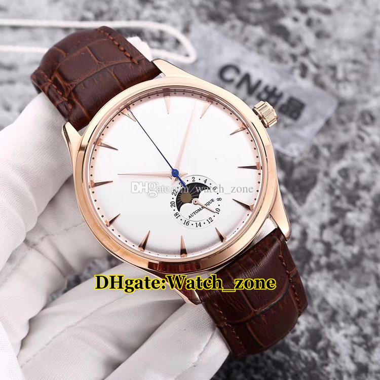 New Master Ultra Thin 1368420 Moon Phase White Dial Automatic Mens Watch Silver Case Leather Strap Cheap Gents Wristwatches