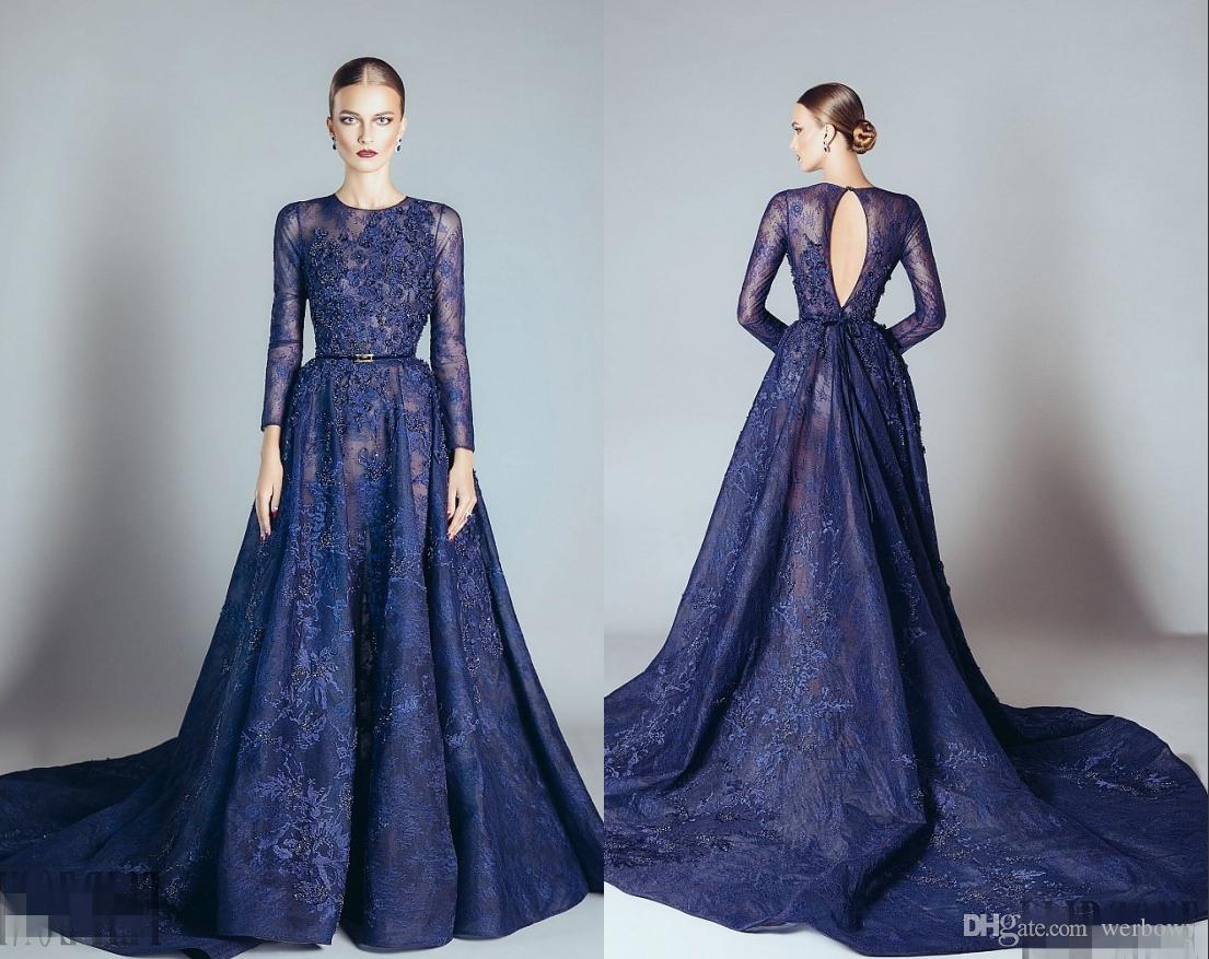 Navy Blue Elie Saab Evening Dresses Lace Formal Prom Dresses Gowns With A  Line Lace Applique Beads Crew Neck Long Sleeves HY4112 Formal Dresses Plus  Size ... 4206dc2bab67