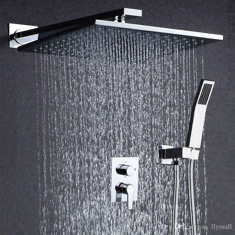 2018 10 Rainfall Shower Head System Polished Chrome Bath Faucet Bathroom Luxury Rain Mixer Combo Set Wall Mounted From Flymall