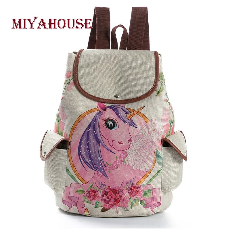 b6a9465b8844c Miyahouse Fashion Cartoon Unicorn Printed Linen Backpacks Female Drawstring  Design School Bags For Teenage Girls Travel Rucksack Backpacks For Women ...
