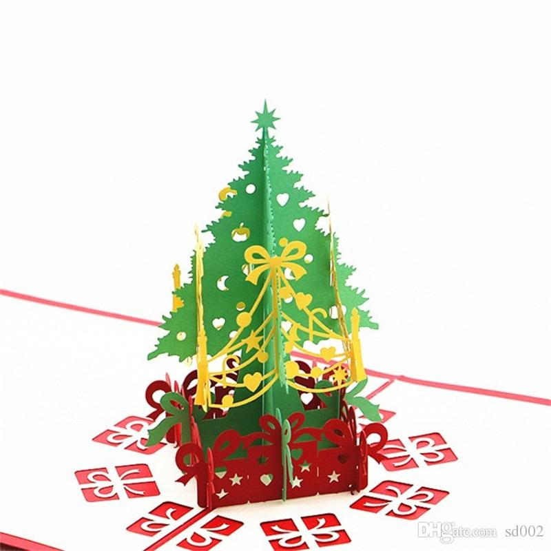 Merry Christmas Greeting Card 3d Laser Cut Pop Up Paper Christmas