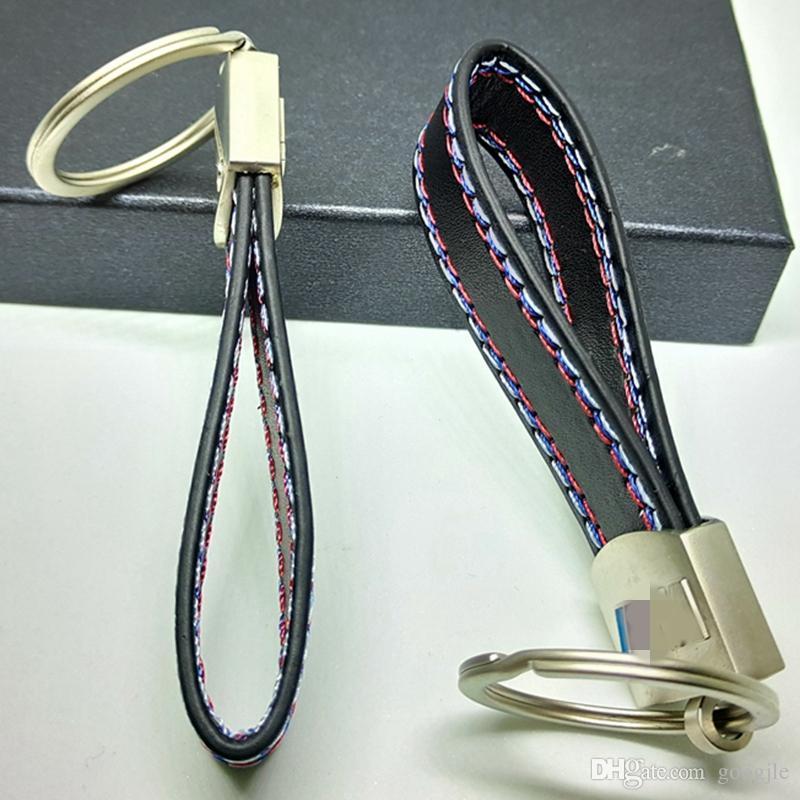 PU 가죽 벨트 크롬 키 링 키 체인 키 체인 BMW M 스포츠 E46 E39 E60 F30 E90 F10 F30 E36 X5 E53 E30 E34 X1 X3 좋은 품질