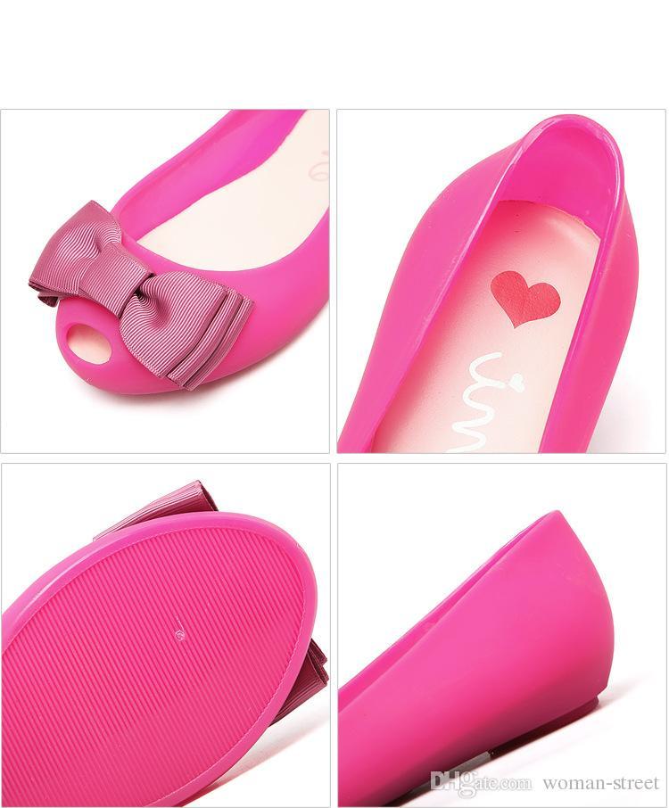 2018 moda feminina bowknot geléia sandálias senhora casual plástico sapato jardim macio e confortável sapata plana senhora peixe boca sapato de praia