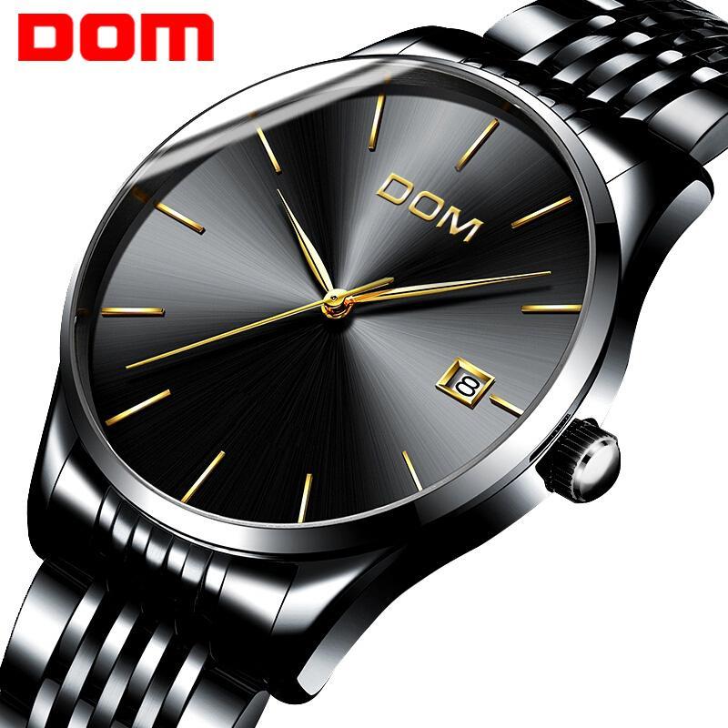 0413b5c631f3 Compre Nuevo Reloj DOM Hombres Relojes De Pulsera De Cuarzo Pulsera De Acero  Ultrafino De Moda Impermeable Hombres De La Marca Top Marca Calendario  Negro ...