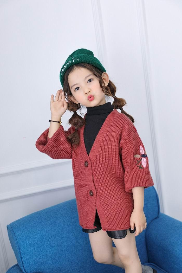 Retail Baby Girl Cardigan Embroidery Loose Long Sleeve Knitting ...