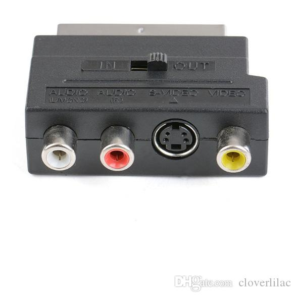 Good Quality Standard 21pin Scart Plug to Composite RCA S-Video AV TV Audio Adapter