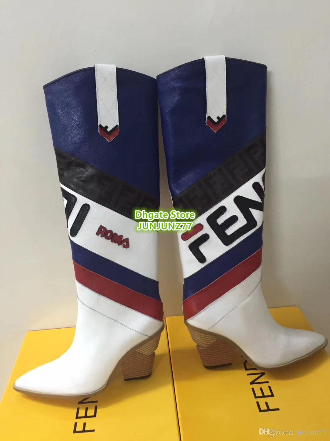 045881e4efc6 Multicolored Leather Boots Pointed Toe Cowboy Boots Geometric Cut ...