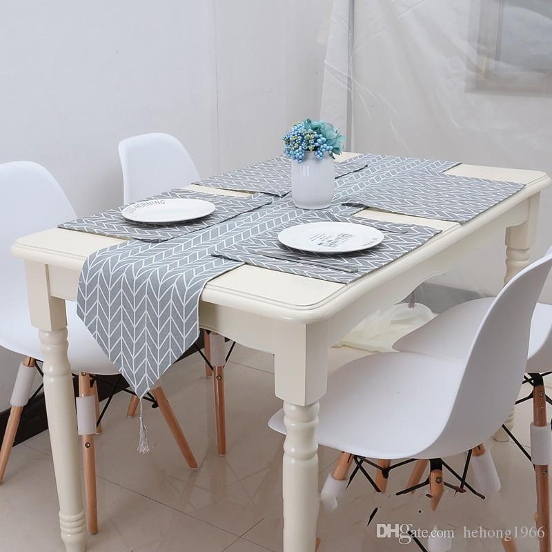 Moderne Géométrie Conception Table Runner Concise Gris Tissu Art Drapeau de Repas Pour La Maison De Bureau Cuisine Unique Décoration Tables Tissu 23qc4 Z