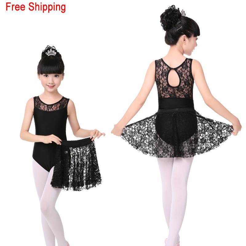 a93c574f8 2019 High Grade Lace Black Sleeveless Dance Leotard Lace Skirt Set ...