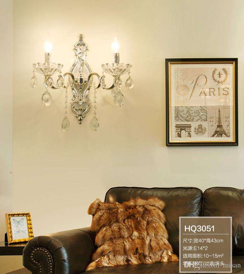 Mur de cristal moderne Lumière claire couleur haute qualité E14 cristal mur lumières murales bras de lumière encastré k9 cristal éclairage pour chambre