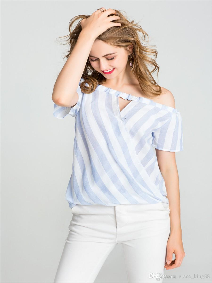 45d2869c1ec Women's Cotton linen shirt off shoulder casual short sleeve Shirt blouse  loose Fashion Striped shirt Top S M L XL