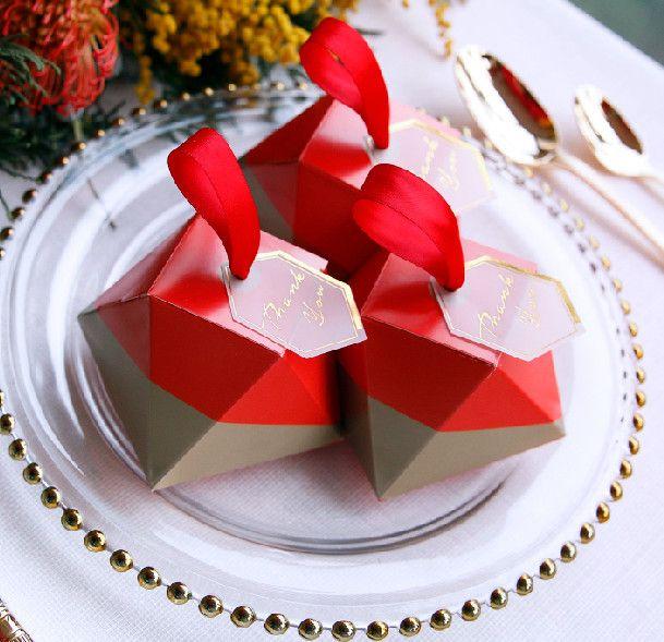 2018 Diamond Shape Wedding Candy Box Favors Unique Polygon Candy Box