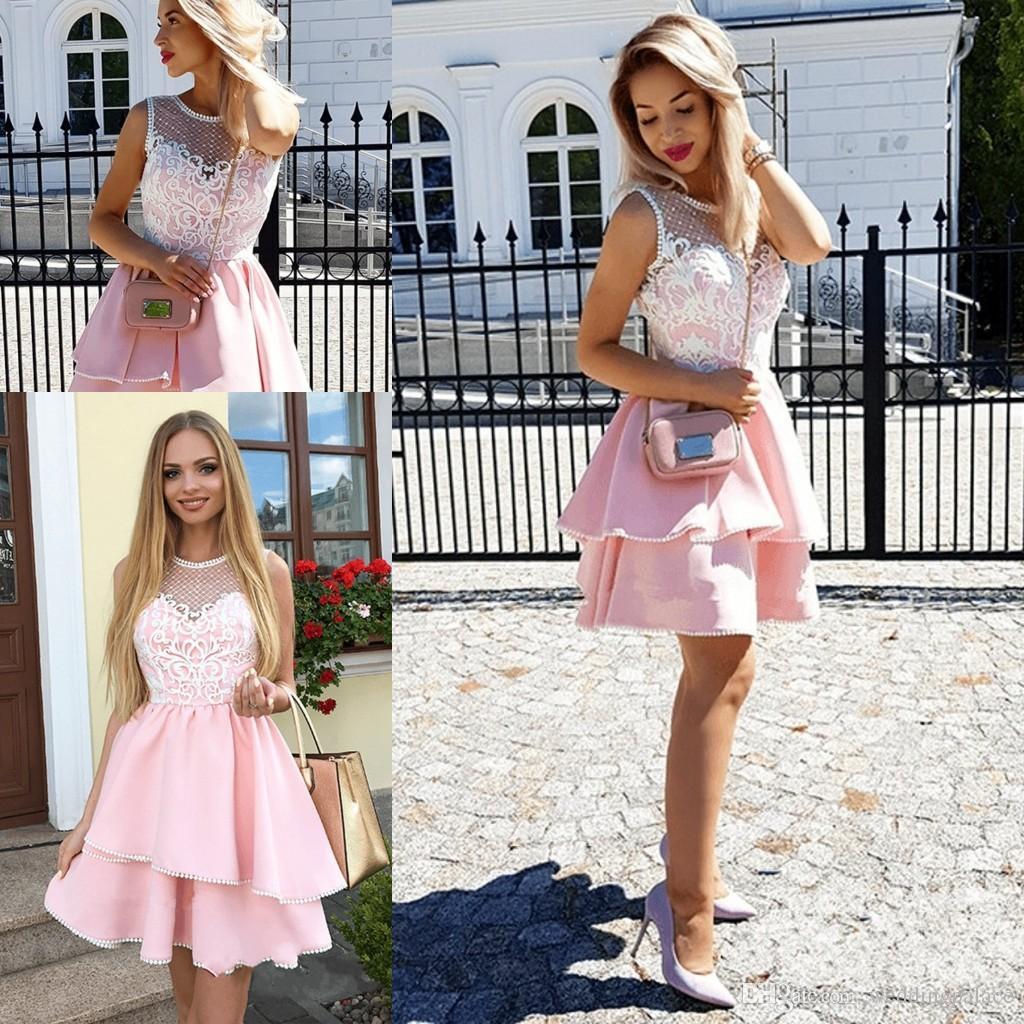 096625268 Compre Moda Encaje Perlas De Color Rosa Con Volantes Vestido De Fiesta 2019  Vestido Formal Corto Vestidos Para Ocasiones Especiales Puro Cuello Vestidos  De ...