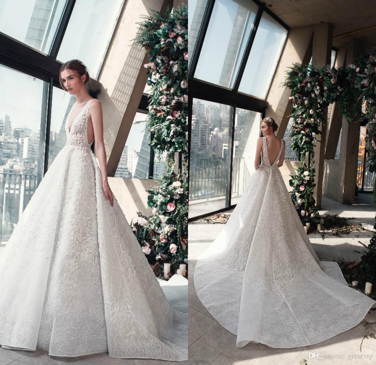 7b1479876 Discount La Mariée Spring 2019 Tony Ward Wedding Dresses Deep V Neck Sequins  Backless Applique Lace Sleeveless Train Bridal Gowns Vestidos De Noiva  Perfect ...