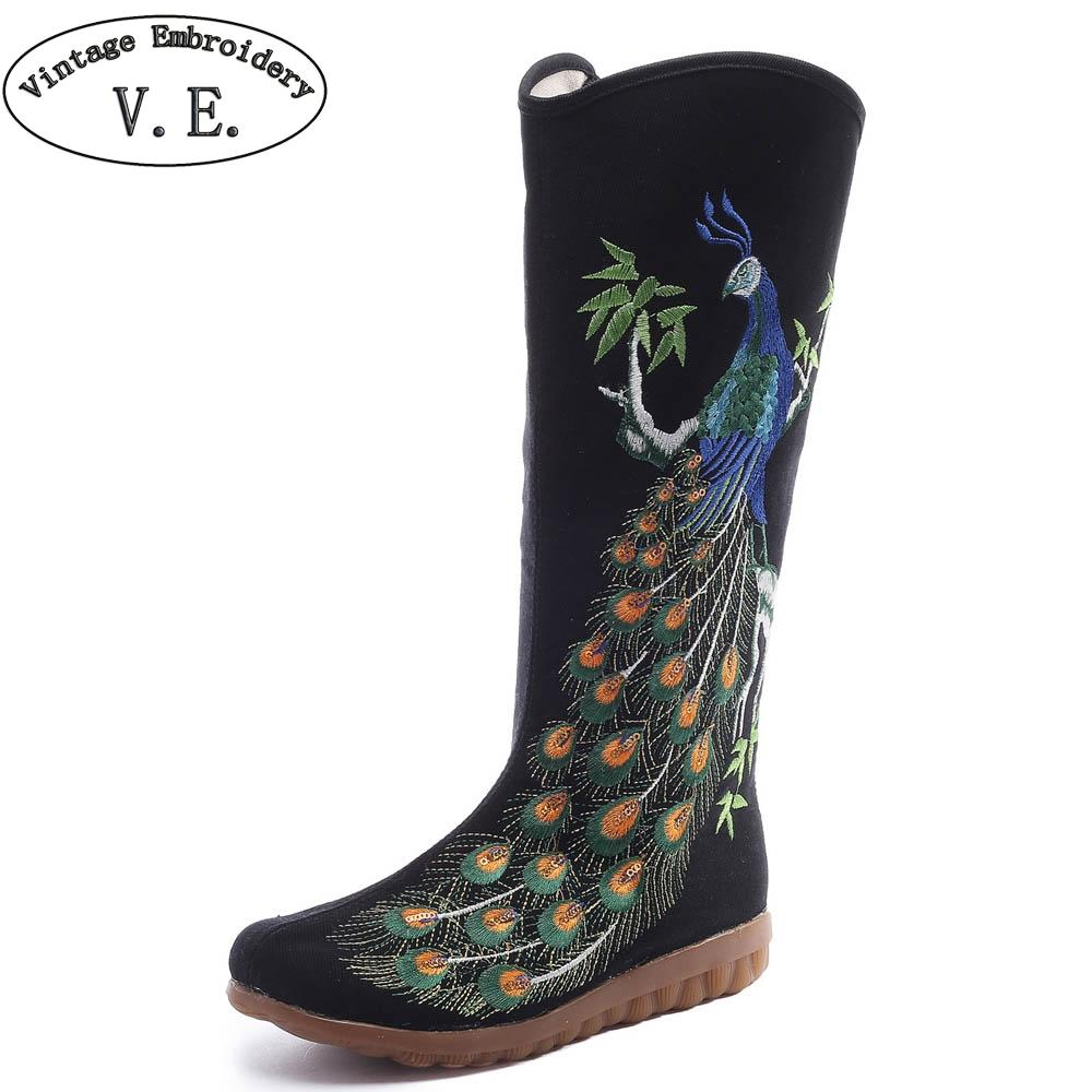 fdbd39deed0 Vintage Embroidery Women Winter Boots Peacock Embroidered Canvas Mid Boots  Ladies Tall Black Flat Booties Botas Mujer