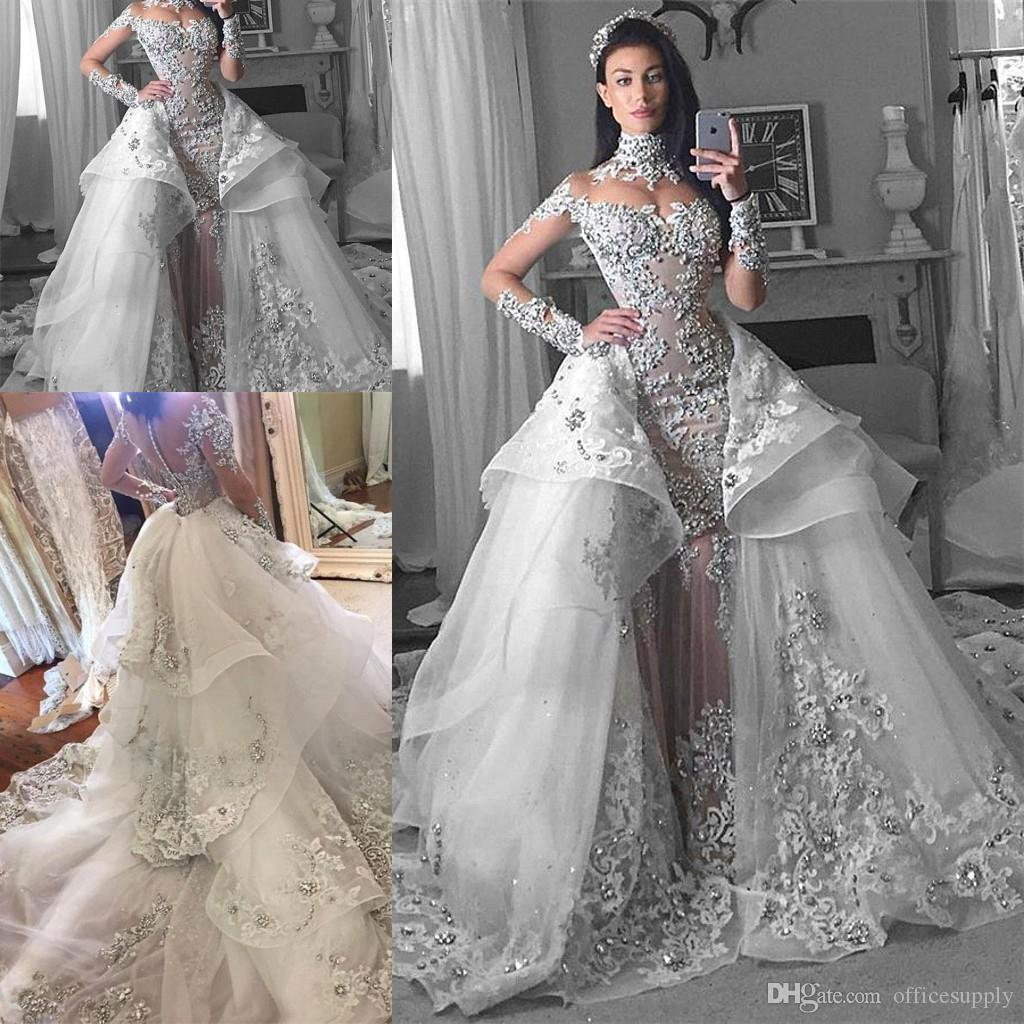 Detachable Cathedral Train Wedding Gown: Discount Luxury Arabic Wedding Dresses 2019 With