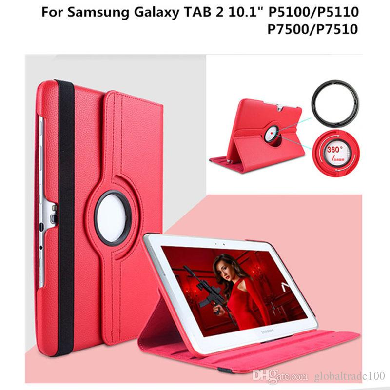 360 Rotating Tablet Cases For Samsung Galaxy Tab 2 10.1 inch P5100 P5110 P7500 P7510 Litchi Pattern PU Leather Stand Protective Cover