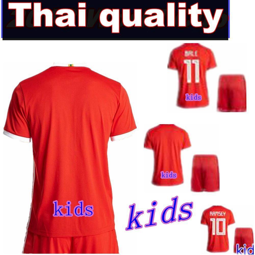 Compre 2018 2019 País De Gales Futebol Jersey Kida Kit Bale Ramsey ... d92dede552a69