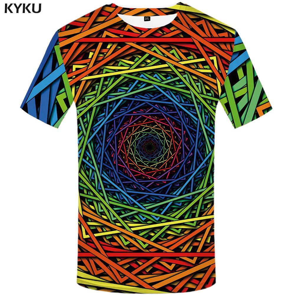 a0ac6669c4 Compre Atacado Colorido T Shirt Dos Homens Tontura Camiseta Olho 3d T Shirt  Camisas Engraçadas De T Anime Roupas Hipnose 2018 Mens Verão Roupas Casuais  De ...