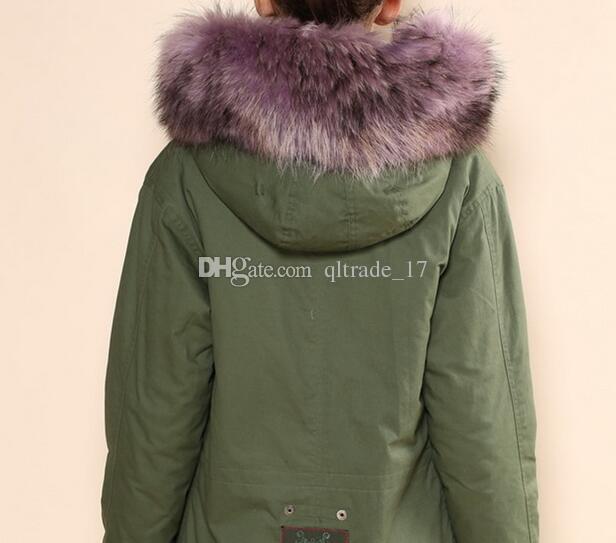 MEIFENG марка Лаванда меховой отделкой женщин парки Лавандовый мех кролика подкладка армейский зеленый мини парки дамы куртки из меха кролика холст куртки
