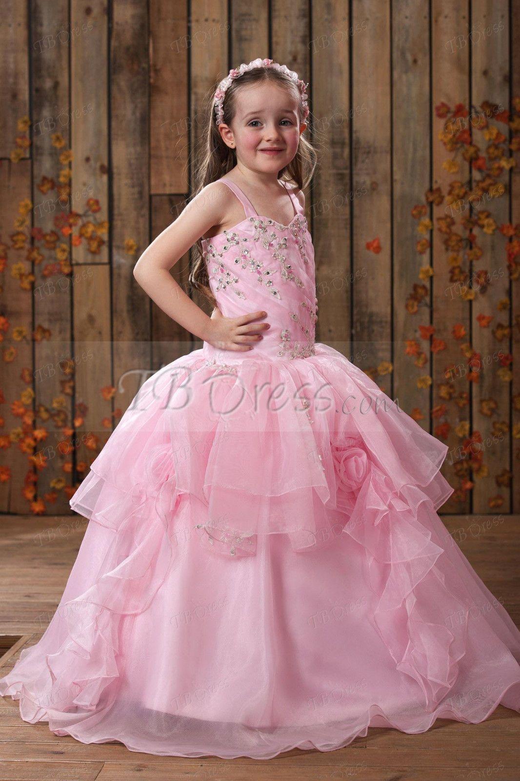 Blush Pink Wedding Flower Girl Dresses Puffy Tutu Kids Ball Gowns Floor Length Pageant Dresses For Girls Handmade Flowers Bateau Neck 2017