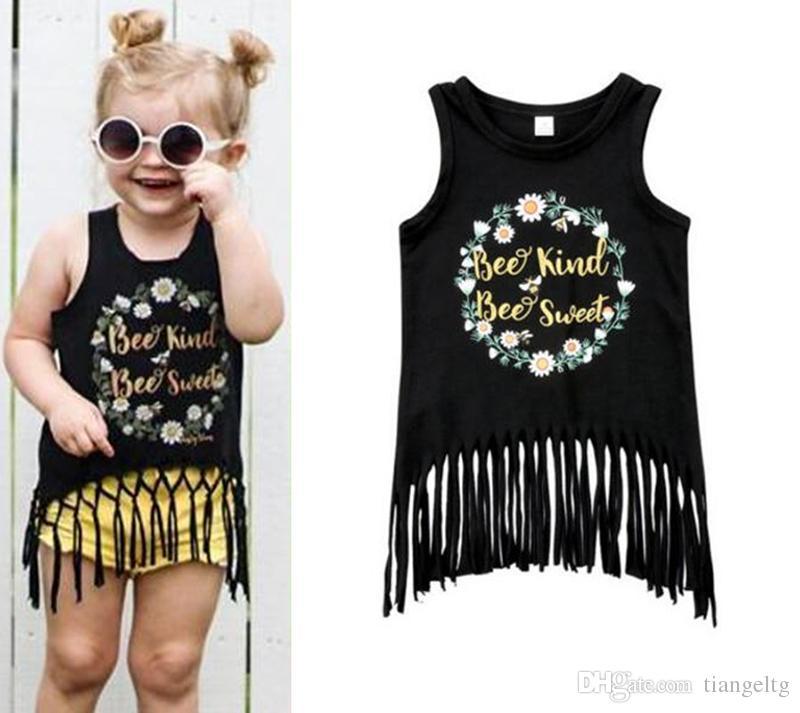 d416400efb73 2019 Girls Print T Shirt Tassels Black Sleeveless Floral Printing Shirt Tee  With Cute Tassels Summer Girls Clothes 2 6T From Tiangeltg