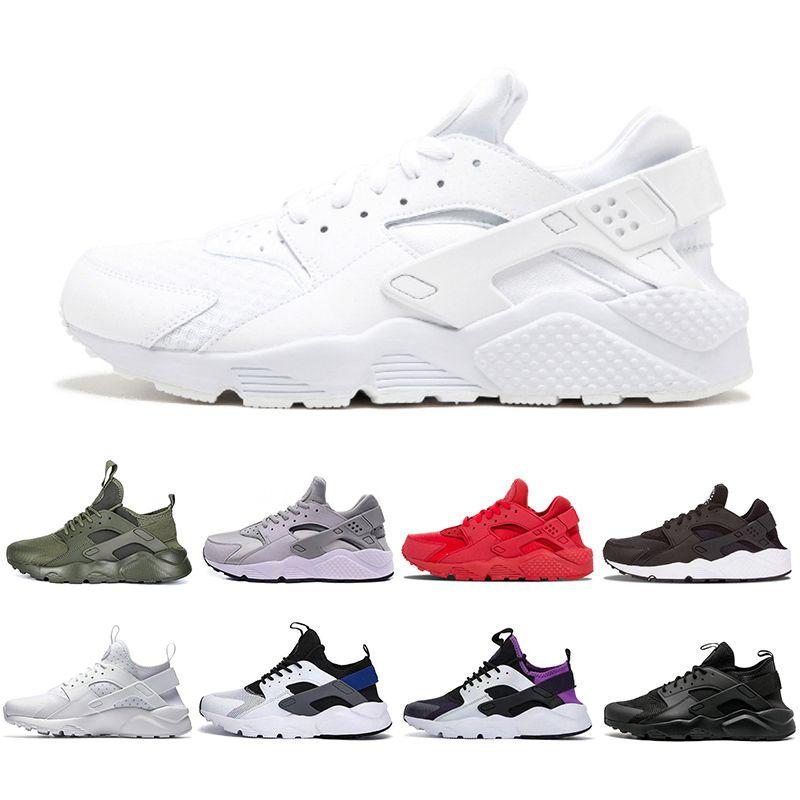 2019 New Air Huarache 4 Men Women Running Shoes All White Zapatos ... ddff76617b