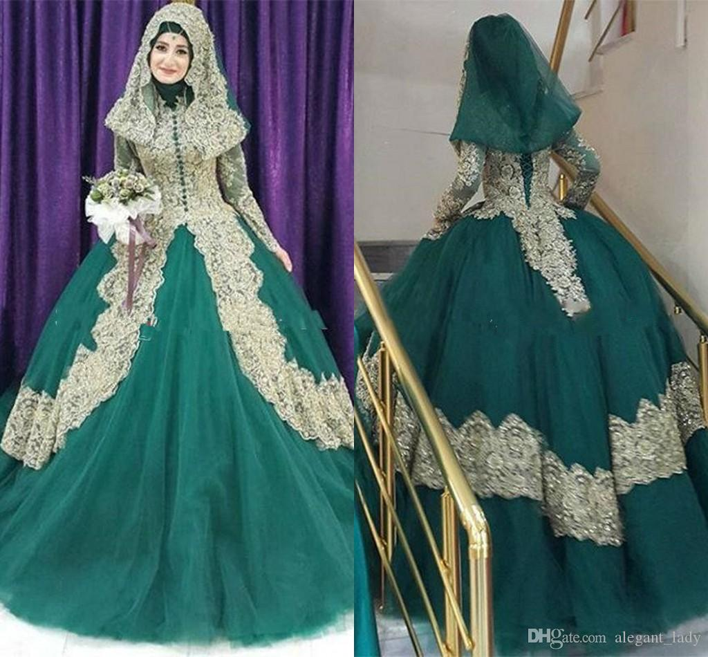 Discount Arabic Hunter Green And Gold Lace Muslim Ball Gown Wedding Dresses High Collar Long Sleeves Floor Length Hijab Plus Size Bridal Black: Turquoise Black And White Wedding Dresses At Websimilar.org