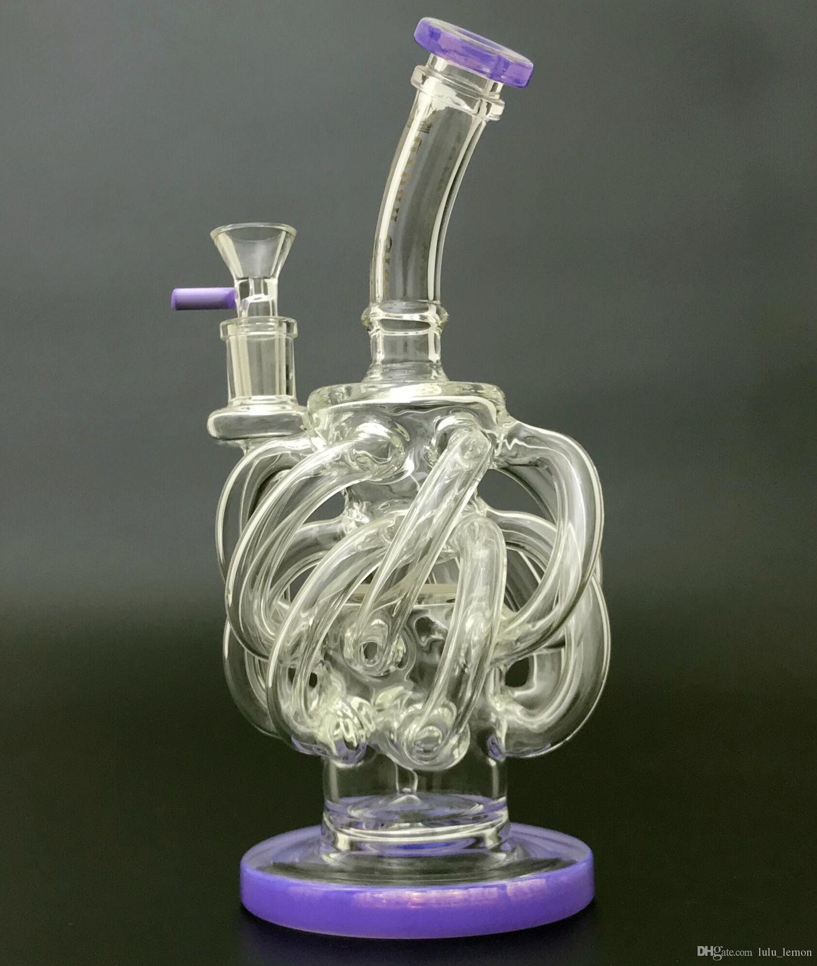 Súper Vortex Glass Bong Bong 12 Recycler tubo ciclón aceite Dab plataformas de 14 mm Tubos de empalme del agua verdor de cristal púrpura Bong Con Embriagador Tazón