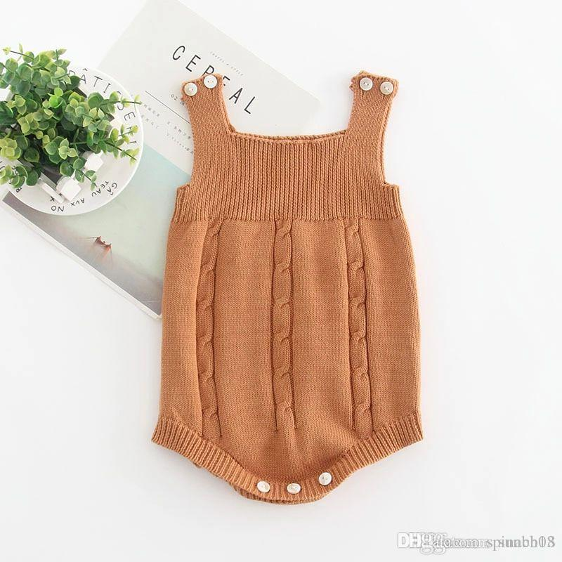68496ed9936b7 New Autumn Infant Baby Knitted Rompers Boys Girls Knitwear Sweater  Suspender Rompers Children Toddlers Climb Clothes Jumpers 4268