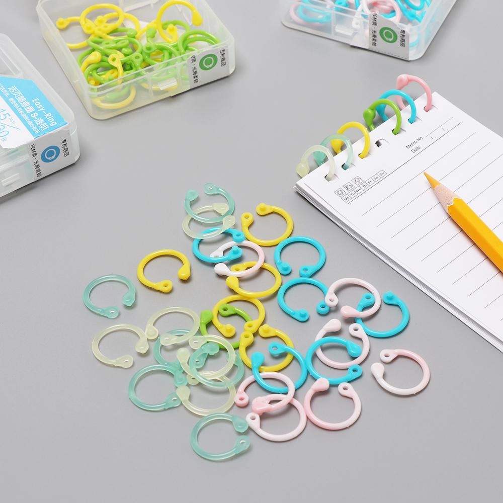 1 Box Colorful Easy Ring Paper Book Loose Leaf Binder Multi-function Circle  Calendar Ring Keychain Key DIY Craft