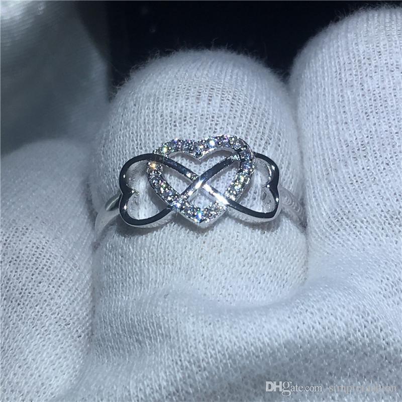 Kalp Gerçek Soild için Vecalon Kalp 925 Gümüş yüzük 5A Zirkon Taşlı Nişan düğün Bant yüzük kadınlar Gelin Hediye için