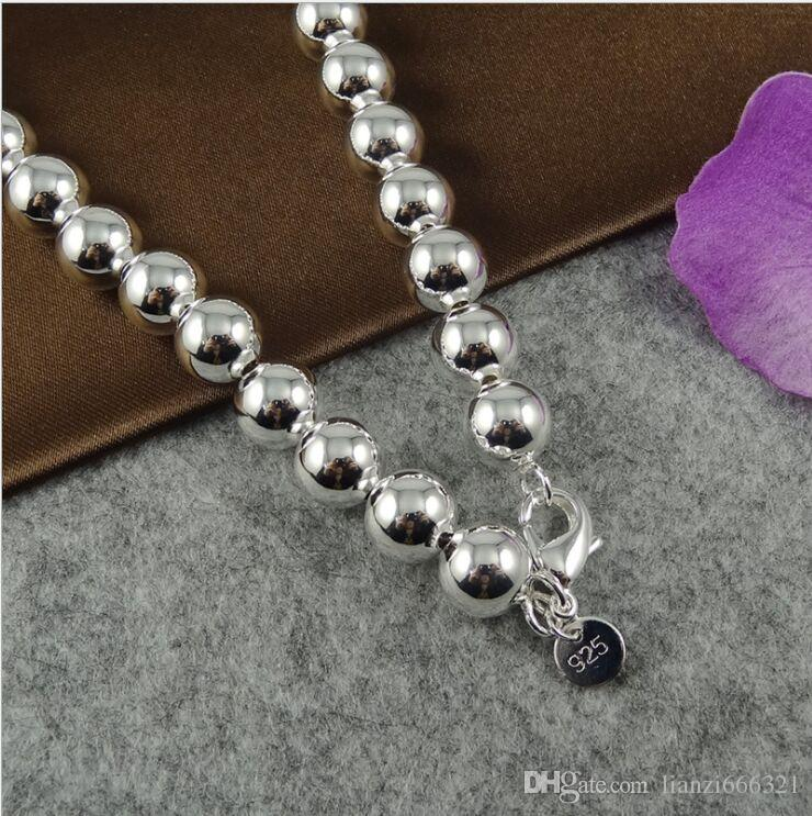 with tracking number Best NEW 925 STERLING SILVER 4MM 6MM 8MM 10MM Sliver Solid Ball ROUND CHAINS NECKLACES JEWELRY HJ189