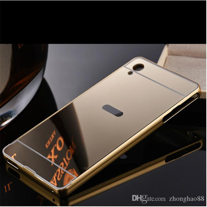 online store 857f2 2ca17 Fashion Phone Case Cover for Sony Z2 Z3 Z4 Z5 Plated Mirror Case Xperia XA  Metal Frame Back Cover Sony M5 Case XA Ultra 4 colors 7 models