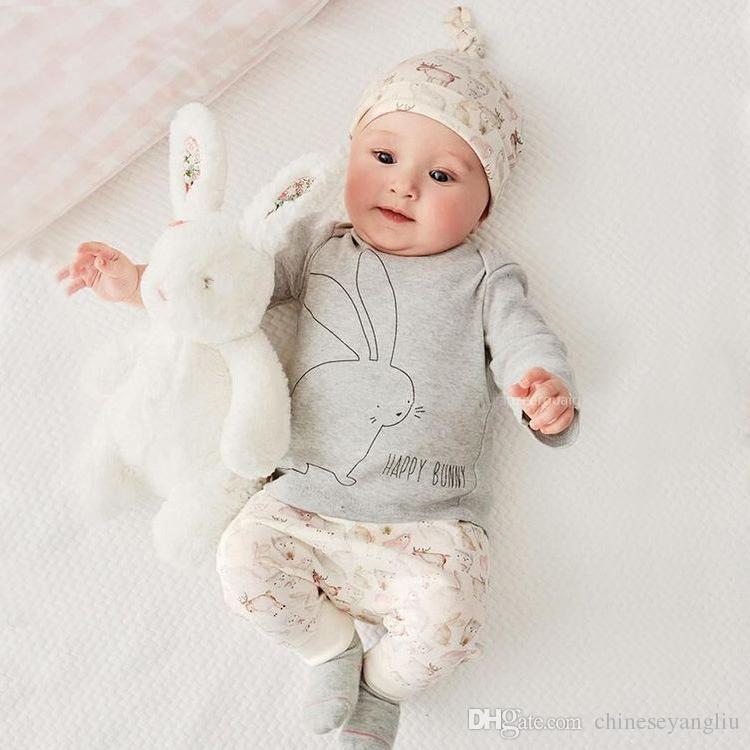 the latest 980a6 0523a Neugeborenes Baby Kleidung Baby Jungen Kleidung Sets 2018 Herbst Frühling  Bunny Neugeborenes Langarm T-shirt Pants Hat 3 stücke Set