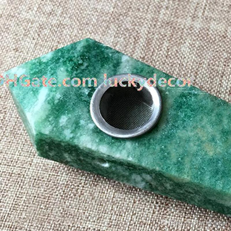 Point Precious Natural Stone Jade Quartz Crystal Smoking Pipes + Metal Filter Carved Green Gemstone Tobacco Wands W/Carb Hole for Smoking