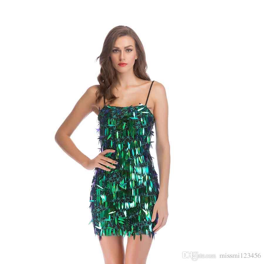 bebe515d57223 Satın Al Kadınlar Seksi Parti Elbiseler Yaz Moda Pullu Bodycon Tulum  Backless Kısa Abiye Bodycon Elbise Seksi Kulübü Giymek, $31.12 |  DHgate.Com'da