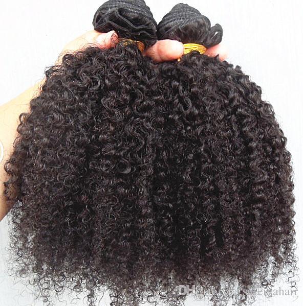 Arbeiten Sie brasilianische Jungfrau-Remy-Haar-verworrenes gelocktes Haar-Einschlagfaden-menschliche weiche doppelte gezeichnete Haar-Erweiterungen unverarbeitete natürliche schwarze Farbe um