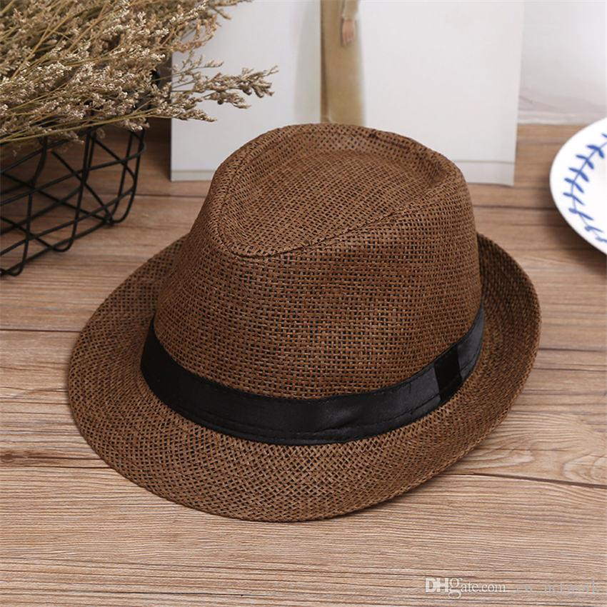 b7a0d08d7585b Hot Fashion Men Jazz Hats Woven Straw Hats For Women Adults Panama Wide  Brim Straw Hats Caps For Summer Beach Vacation Trilby Stetson Hats From  Zw network