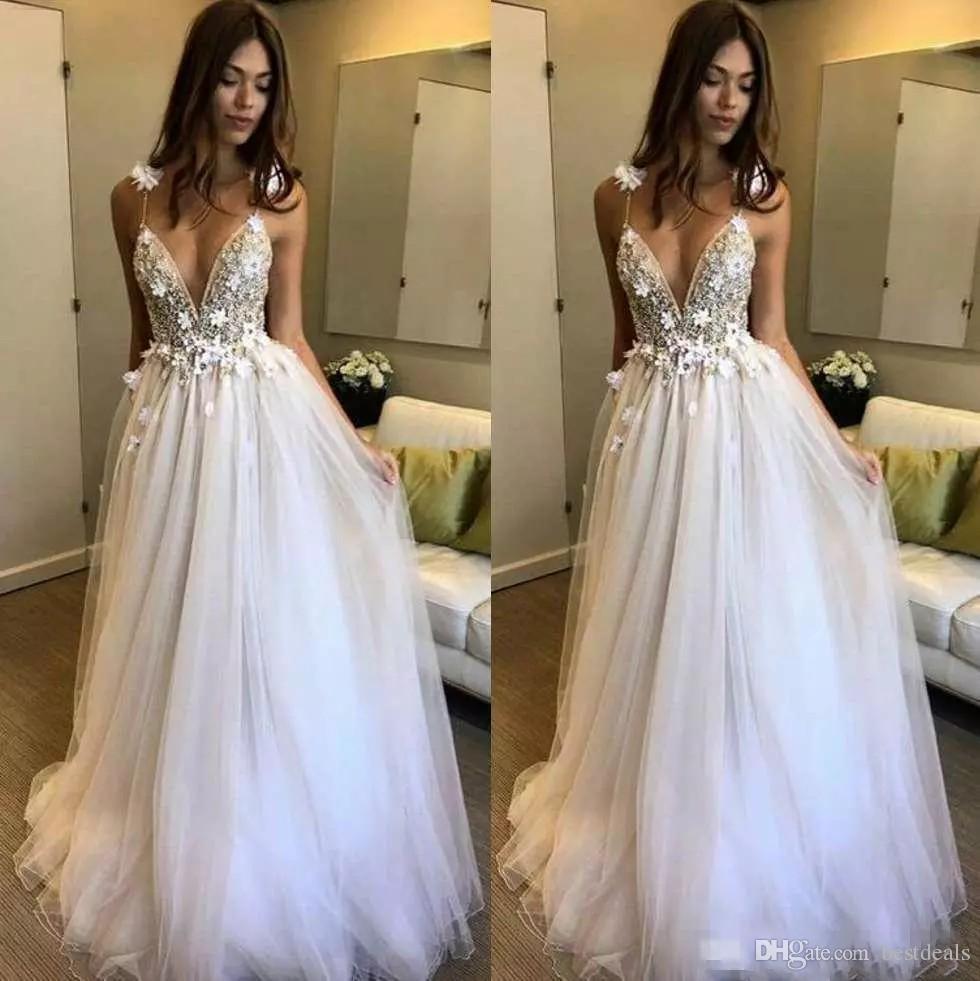 Beaded Cheap Organza Beach Wedding Dresses China Ball Gown: Discount Boho Beach Wedding Dresses 2017 Berta A Line Deep