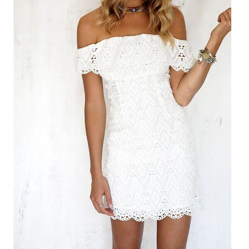 Women White A Line Lace Sexy Dress Women Soild Off The Shoulder Wedding Party Dress 2018 Spring Sexy Mini Dresses